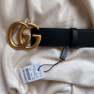 ôNew Gucci GG Belt Äüthentïć Double G Marmot Gold
